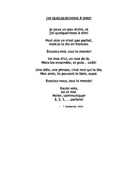 Rhyme to start French class
