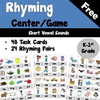Rhyming Center or Game for Short Vowels
