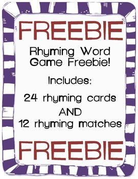 Rhyming Game FREEBIE