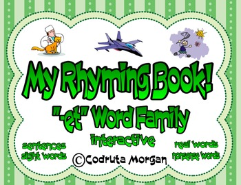 """Rhyming Interactive Book - """"-et"""" Word Family. CCS Aligned"""