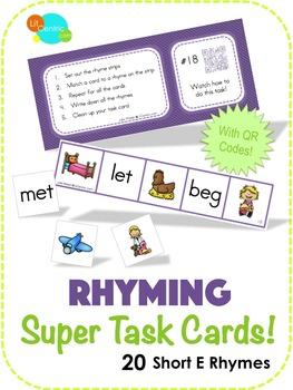 Rhyming Super Task Cards! - Short E