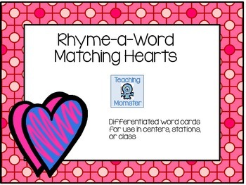 Rhyming Word Cards --Hearts Edition