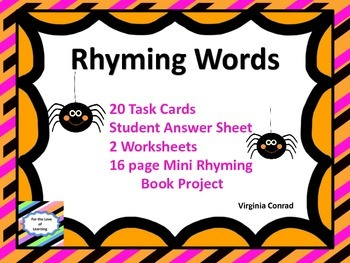 Rhyming Word Task Cards and More for Halloween