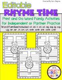 Rhyming/ Word Family Games (K/1) - EDITABLE #kinderfriends