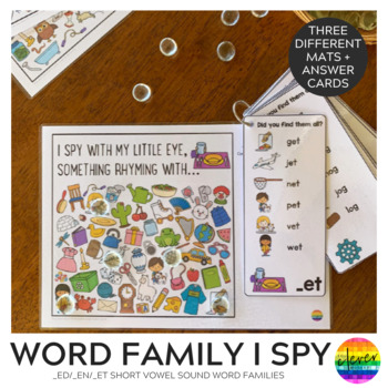 Rhyming Word Family I Spy Mats - ED/EN/ET BUNDLE