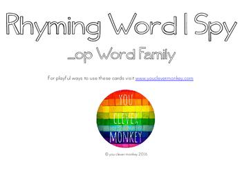 Rhyming Word Family I Spy Mats - OP words