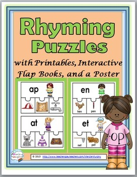 Rhyming Puzzles, Rhyming Worksheets, Flap Book, & Poster -