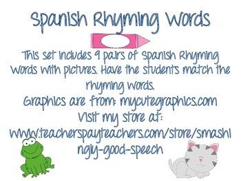Rhyming Word Flashcards in Spanish