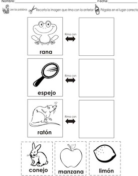 Rhyming Words Center Activities in Spanish + Flashcards
