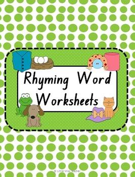 Free Worksheets rhyming word worksheets : Rhyming Word Worksheets by Little Miss Teacher   Teachers Pay Teachers