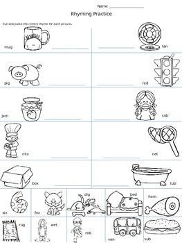 Rhyming cut & paste worksheet
