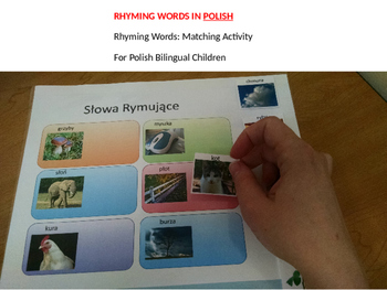 Rhyming words: Rhyming activity for bilingual children in POLISH