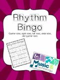 Rhythm Bingo (quarter, barred eighth, half, whole, quarter rest)