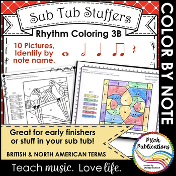 Rhythm Coloring 3B- Color by Note Name - Quarter N/R, Eigh