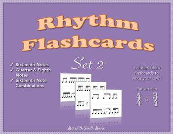 Rhythm Flashcards - Set 2 - Sixteenth Note Patterns