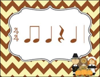 Rhythm Flashcards - Thanksgiving Theme