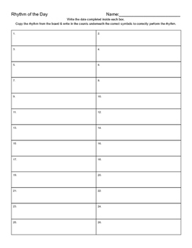 Rhythm & Notes of the Day Sheet