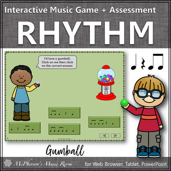 Rhythm Time with Eighth Notes Interactive Music Game + Ass