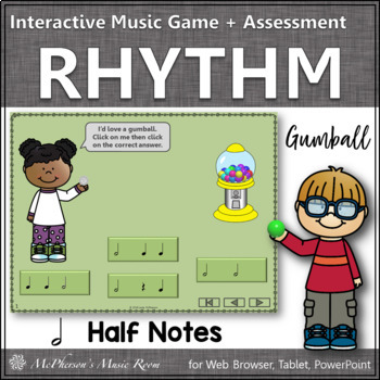 Rhythm Time with Half Notes Interactive Music Game + Asses