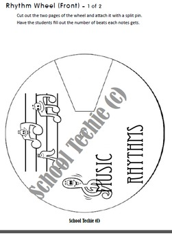 Rhythm Wheel Note Values - Interactive Notebook and Lapbook