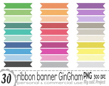 Ribbon Banner Gingham | Clipart | 30 png files | Scrapbook
