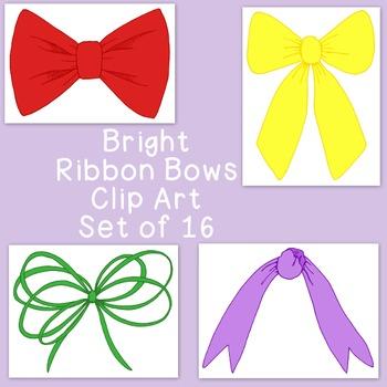 Ribbon Bows Brights Clip Art Bundle PNG JPG Blackline Comm