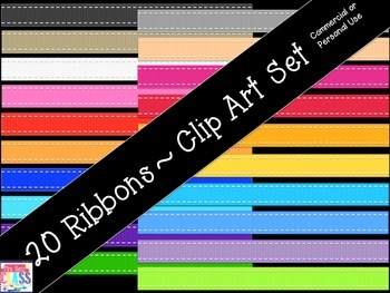 Ribbon Clip Art (20 Images for Personal or Commercial Use)