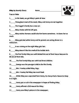 Ribsy by Beverly Cleary Objective Test