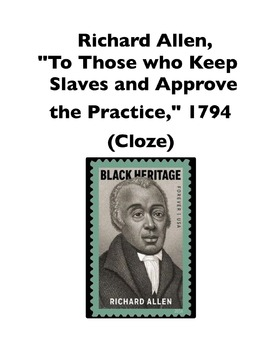 """Richard Allen, """"To Those that Keep Slaves and Approve"""" (Fu"""