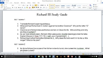 Richard III Study Guide, Act 3 Quiz, & Final Test