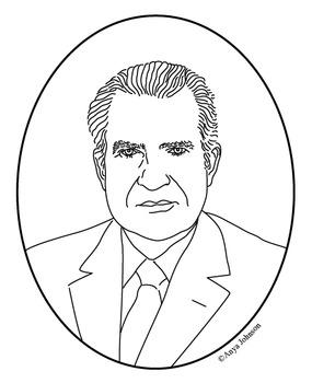 Richard M. Nixon (37th President) Clip Art, Coloring Page