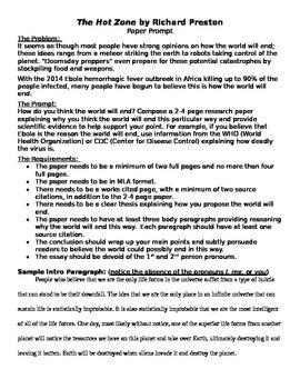 Richard Preston The Hot Zone Paper Prompt