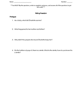 Riding Freedom comprehension questions