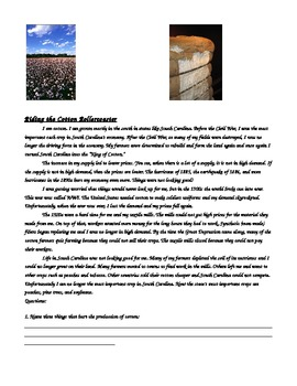 Riding the Cotton Roller Coaster Reading Comprehension