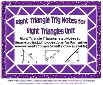 Right Triangle Trigonometry Guided Notes for Right Triangl