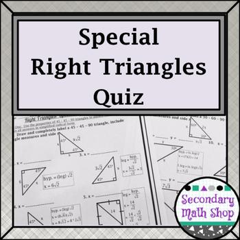 Right Triangles: Special Right Triangles Quiz