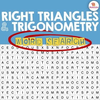 Right Triangles & Trigonometry Word Search Activity