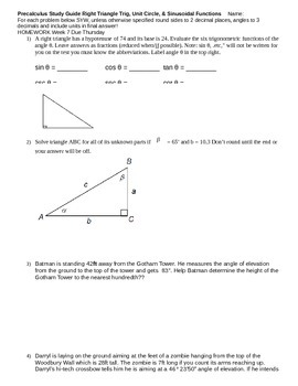 Right Triangles Unit Circle Sinusoidals Study Guide (editable)
