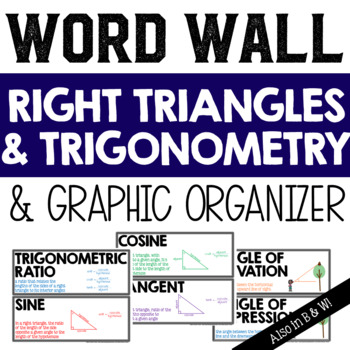 Right Triangles and Trigonometry Vocabulary Word Wall and