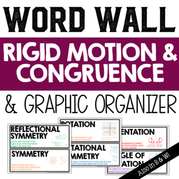 Rigid Motion Transformations Vocabulary Word Wall and Grap