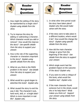 Rigorous Reader Common Core Response Bookmarks