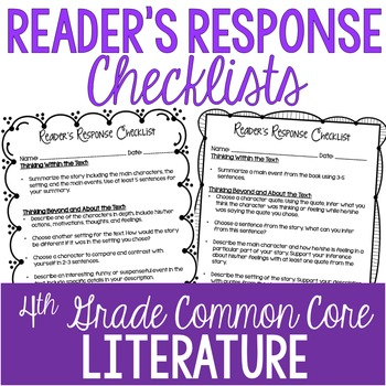 Reader's Response Letters {4th Grade Common Core: Literature Set}