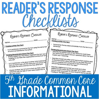 Reader's Response Letters {5th Grade Common Core: Informat