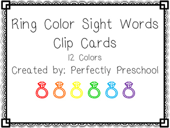 Ring Color Sight Word Clip Cards