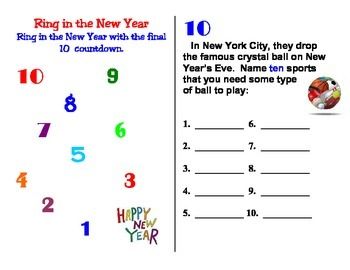 January Ring in the New Year Top 10 Countdown Activity Boo