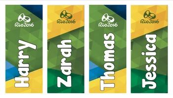 Rio Olympics 2016 Custom Name Bookmarks