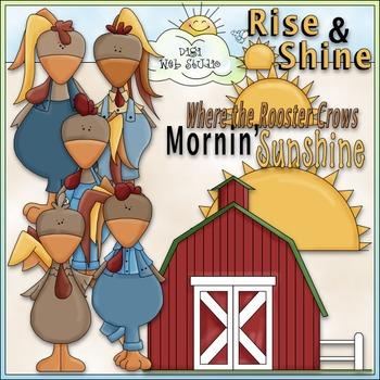 Rise and Shine Roosters Clip Art - CU Clip Art & B&W