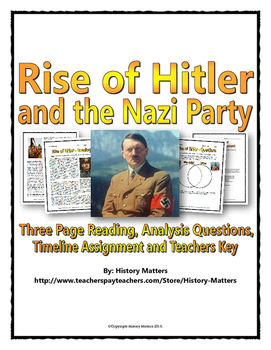 Hitler and Nazi Rise to Power - Reading / Questions / Time