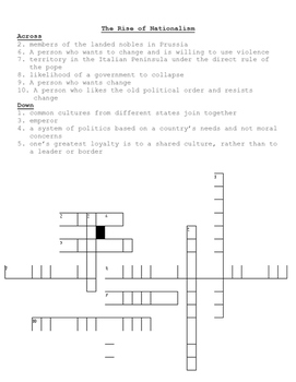 Rise of Nationalism Cross Word
