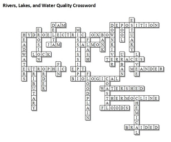 rivers lakes and water qualiy unit crossword by science from murf llc teachers pay teachers. Black Bedroom Furniture Sets. Home Design Ideas